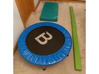 Gymnastics Mini trampoline, Floor beam, girls leotard and gymnastics mat