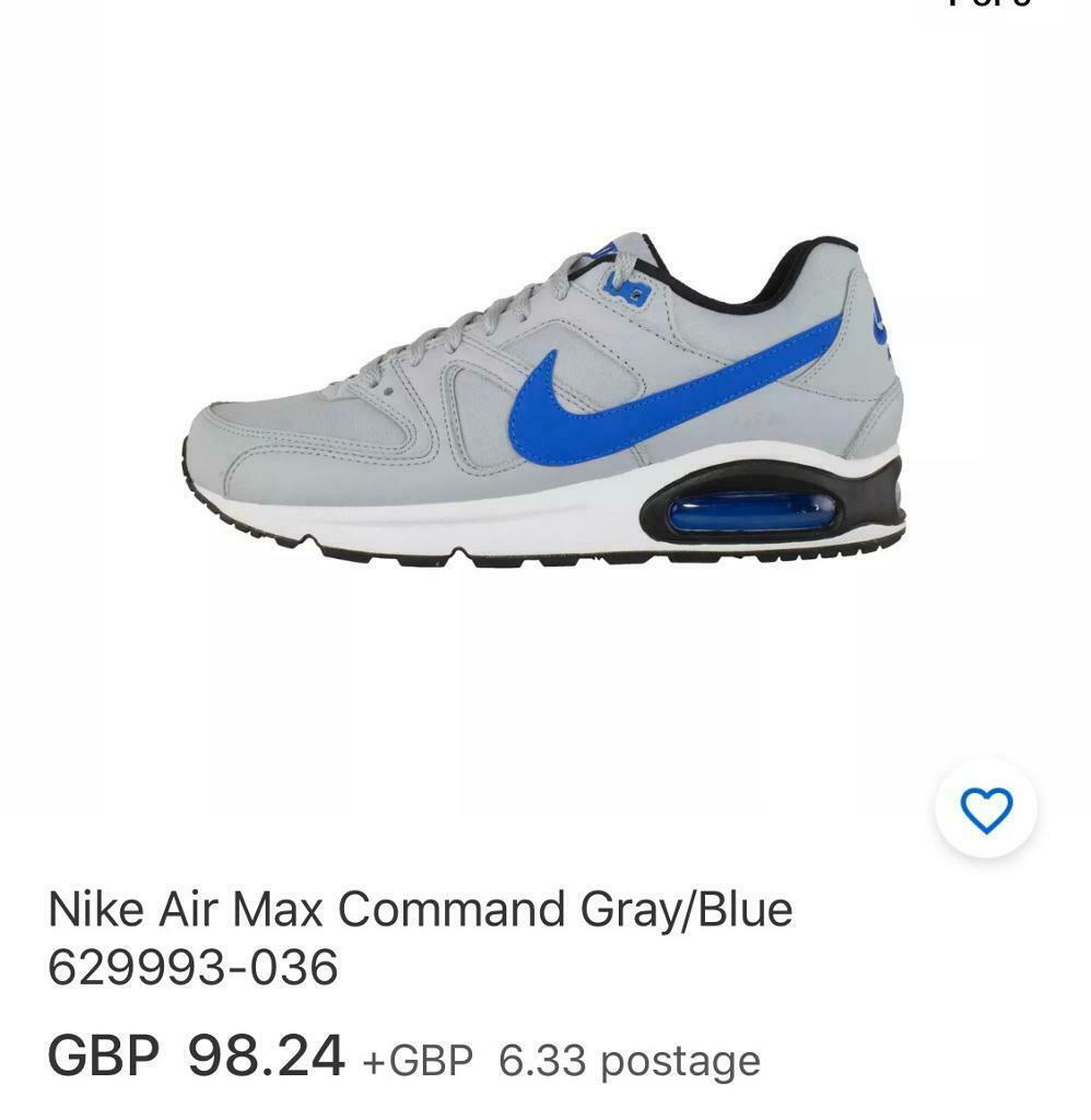 Nike Air Max Command UK size 7 Wolf Grey signal blue | in Camberwell, London | Gumtree