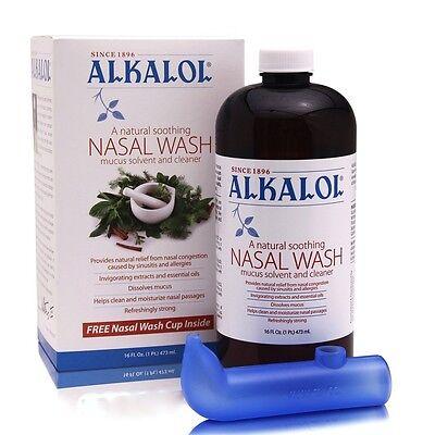 Alkalol Liquid 16 oz Kit - Nasal Wash w. Nasal Cup PRIORITY SHIP! **** - Nasal Rinse Cup