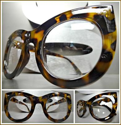 Oversized Vintage Retro Style Clear Lens EYE GLASSES Thick Leopard Fashion (Leopard Frame Glasses)