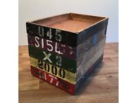Vintage multicoloured wooden stacking factory storage trays
