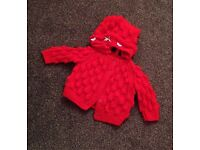 0-3 months red knitted set