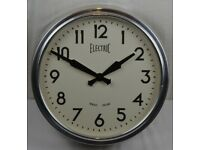 Newgate 1950s Style Electric Station Large Wall Clock Chrome Metal Case - Vintage / Retro
