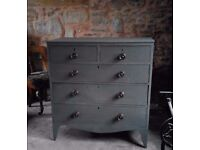 Lovely antique chest of drawers painted in graphite chalk paint