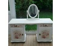 Painted and Decoupaged Pine Dressing Table and Mirror