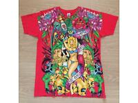 Brand new vintage Ed Hardy men's T-shirt. Red. Medium. Bikini Girl design. Decorated in rhinestones