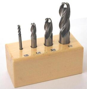 Set-of-4-Solid-Cobalt-Ball-Nosed-Endmills-IMPERIAL-MILLING-CUTTERS-FROM-CHRONOS