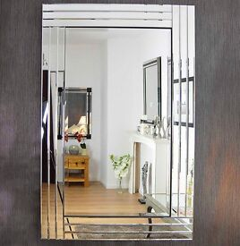 Large silver Bevelled all glass mirror