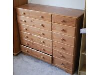 Chest of Drawers - Large, 6+6 drawer, Beautiful Pine Wood, great quality