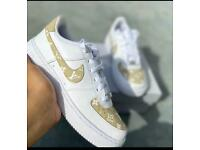 Beige and White Designer like Custom Air Forces With FREE CREASE PROTECTOR