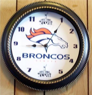 CUSTOM MADE NFL DENVER BRONCOS SUPER BOWL 48 12 WALL CLOCK - NEW IN BOX