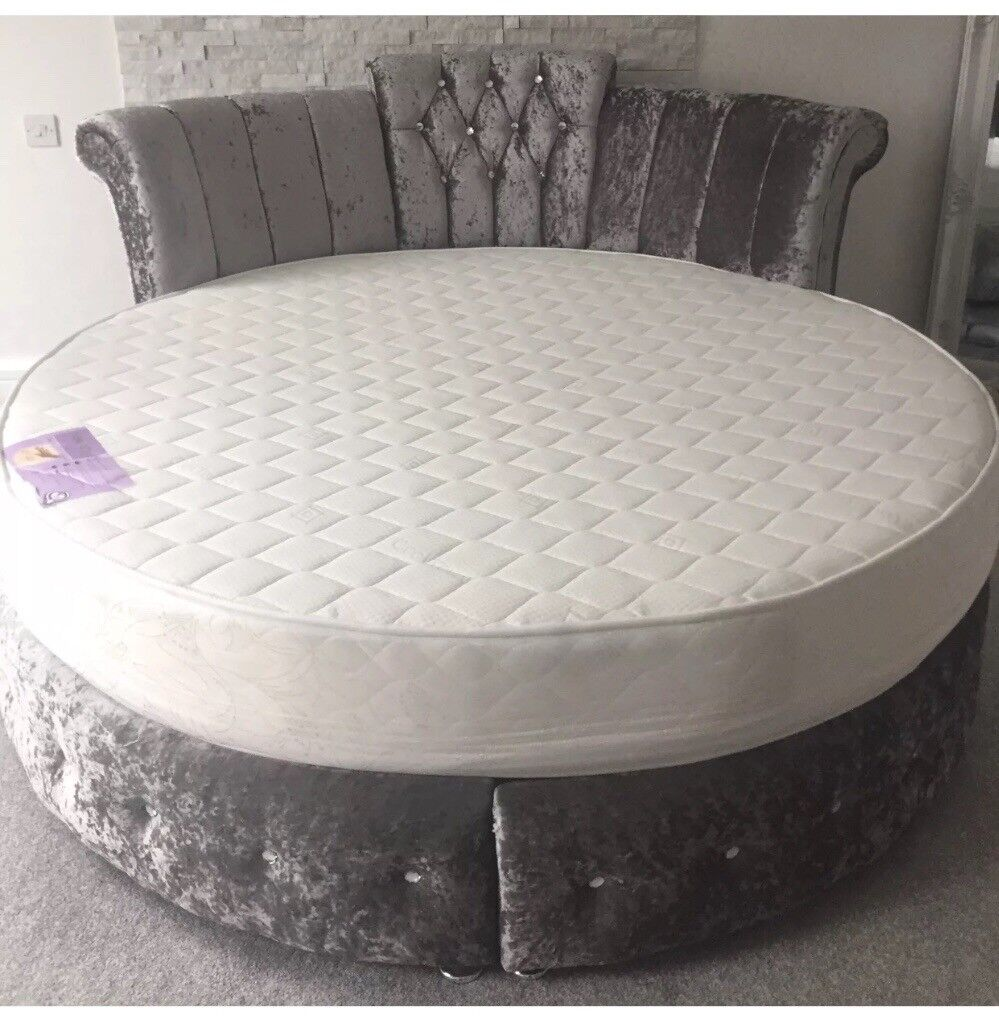 Crystal Diamond Upholstered Velvet Round Bed Frame In Uxbridge