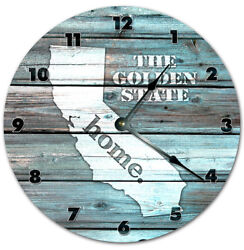 10.5 CALIFORNIA TEAL RUSTIC LOOK CLOCK - Large 10.5 inch Wall Clock - Printed