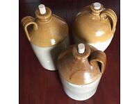 3 x Large Vintage Stoneware Demi-johns