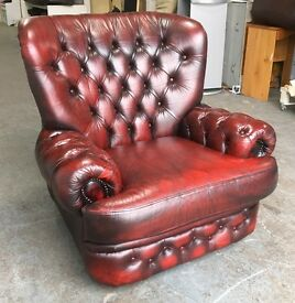 Thomas Lloyd Ox Blood Red leather Chesterfield Monks chair WE DELIVER UK WIDE