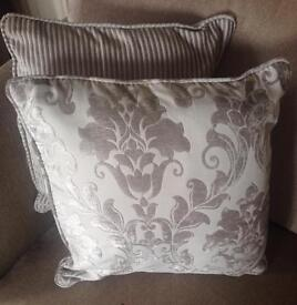 4 x flock / crushed velvet silver cushions