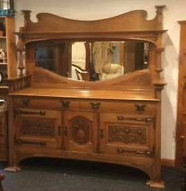 Arts and Craft mirrored sideboard