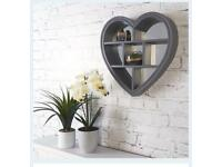 Grey heart shaped mirror shelves - brand new