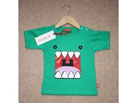 Monster Green T-shirt / Age 1-2 Years (RRP £16.00) by Stardust - 100% Cotton - NEW WITH TAGS