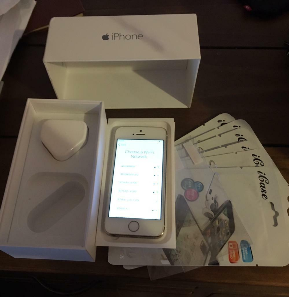 Iphone 5s gold 16gb unlockedin Chapelhall, North LanarkshireGumtree - Iphone 5s gold 16gb unlocked great condition works perfectly, few marks on back of mobile, no dents scratches anywhere, new screen protector on & comes with 8 spare screen protectors, boxed, plug, sim removal tool, no earphones or charging cable