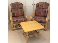 Bamboo Cane Conservatory set - 2 Armchairs & Table - VGC