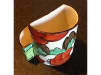 Clarice Cliff 'S shaped' Cigarette/Matchstick Holder/Vase LIMBERLOST c1930s Art Deco Classic & Rare
