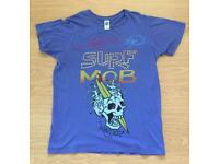 Brand new vintage Ed Hardy men's T-shirt. Blue. Medium. Surf Mob design. Decorated in rhinestones