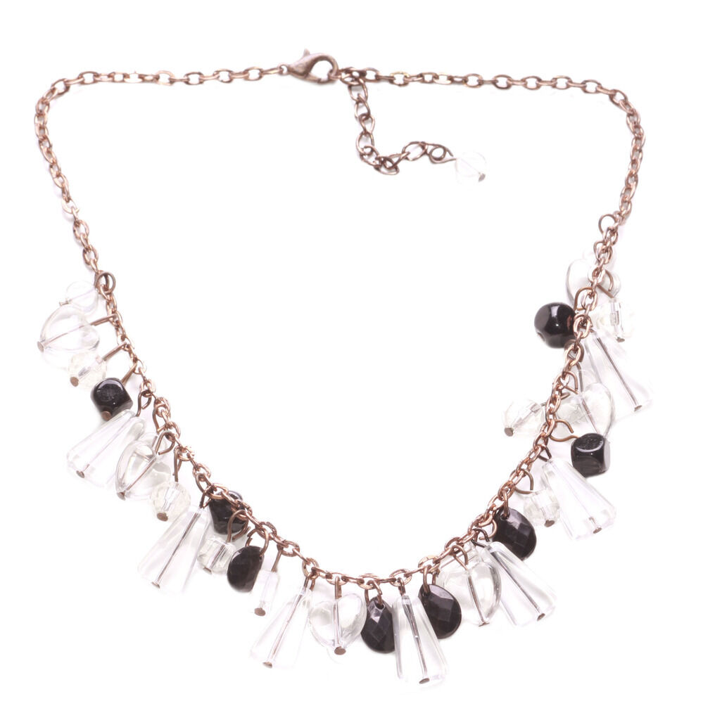 Zx140 Cute Slight Clear Grey// Black Crystal Charm//rustic Copper Chain Necklace