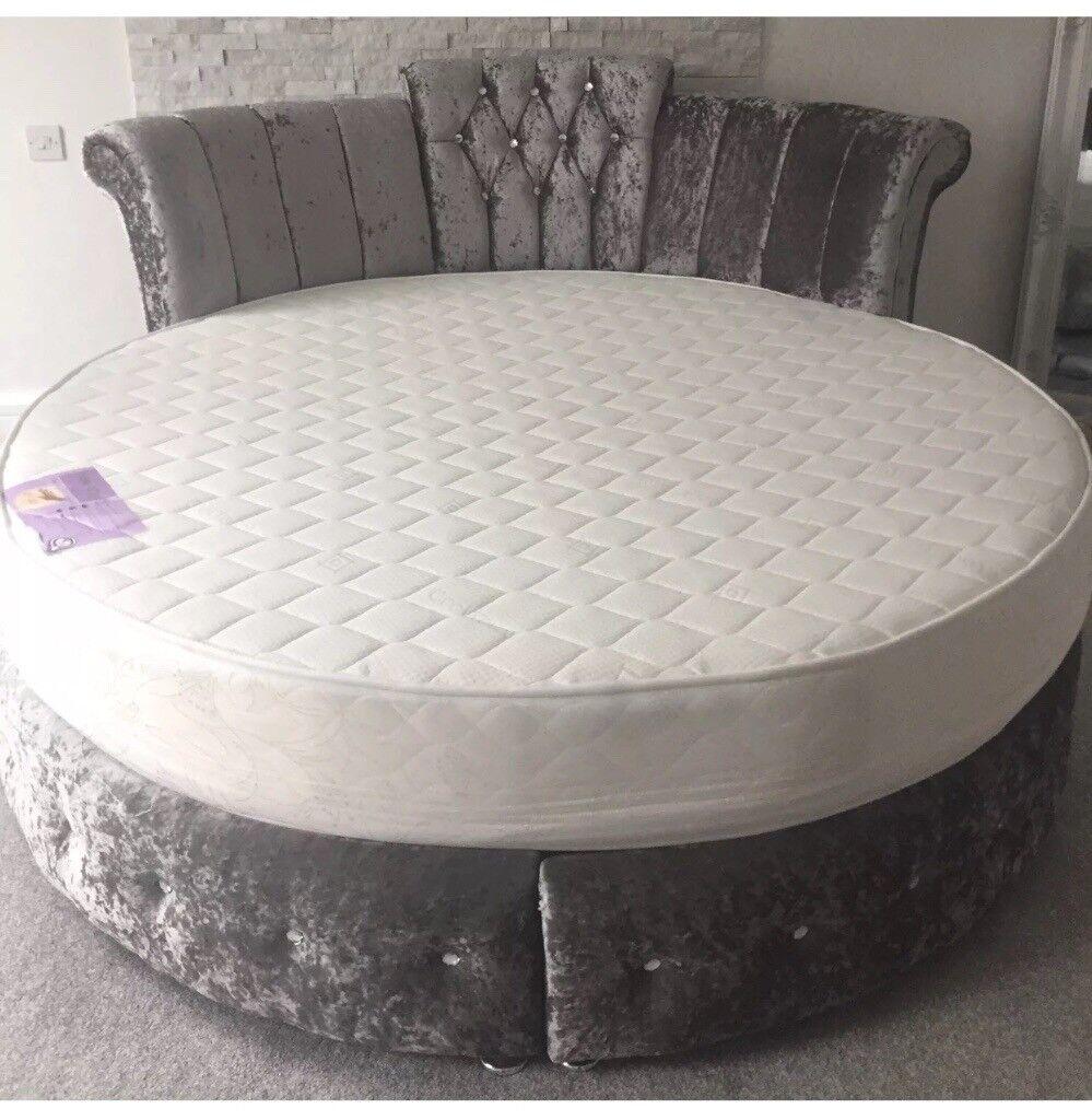 Lovely Round Bed Part - 8: Crystal Diamond Upholstered Velvet Round Bed Frame
