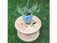 WOODEN CABLE REEL, LARGE OUTDOOR PLANT POT STAND UPCYCLE CHILDS PLAY AREA PROJECT