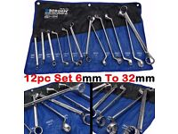 NEW - BERGEN Offset Double Ring Spanners 12 Point Swan Neck Double Box Wrench Tool Set