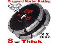 "NEW - 2X Mortar Raking Disc 115mm 41/2"" Diamond Mortar Raking Blade Angle Grinder Disc"