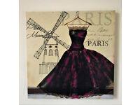 BRAND NEW Novelty Windmill PARIS CANVAS WALL ART - Vintage Dress Picture Print & Home Decor 40x40cm
