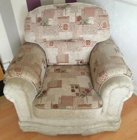3 piece suite and matching armchairs