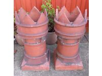 Pair of Vintage Reclaimed Terracotta Clay Chimney Pots Both in VGC - collect from Gosport Hampshire