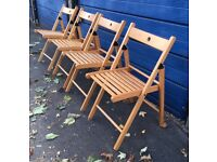 Set of 4 wooden folding chairs