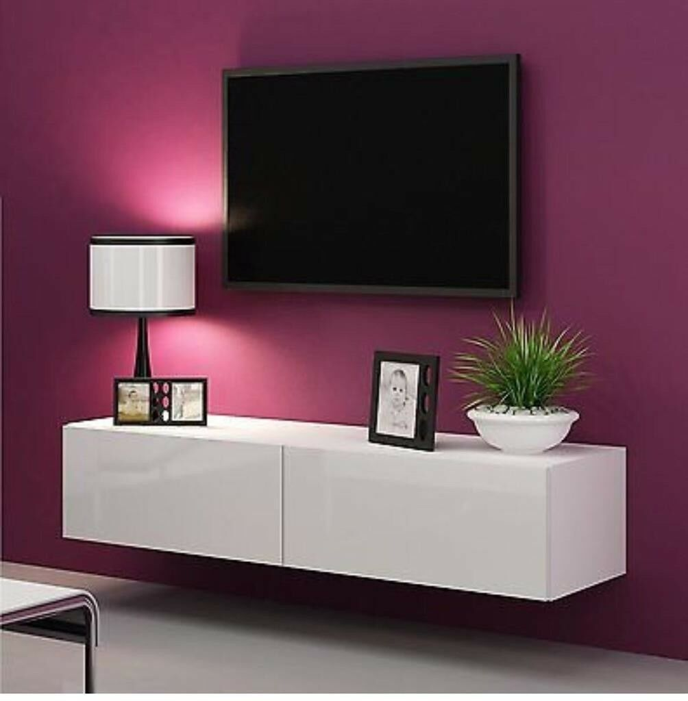 Accent Lights Over Wall Mount Tv: High Gloss TV Stand Cabinet LED Light Choice Floating Wall