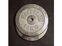2 Reebok Chrome Cast Iron 10Kg plates 1 inch hole (20Kg total)