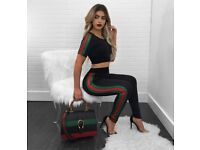 Black with fashionable strips tracksuit