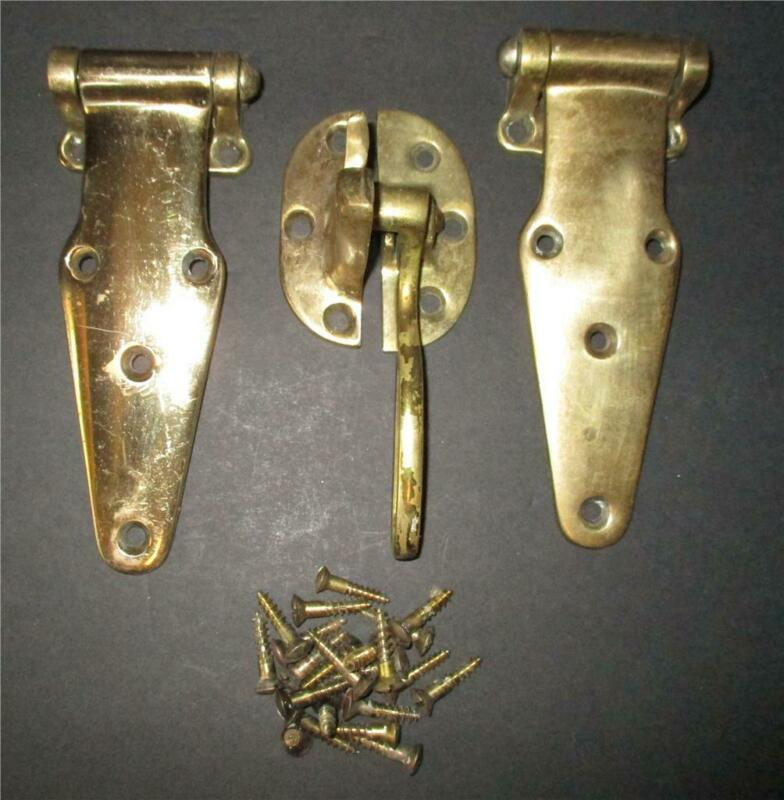 ANTIQUE Solid Brass Ice Box Hardware Hinges Door Latch W/ Original Screws #1