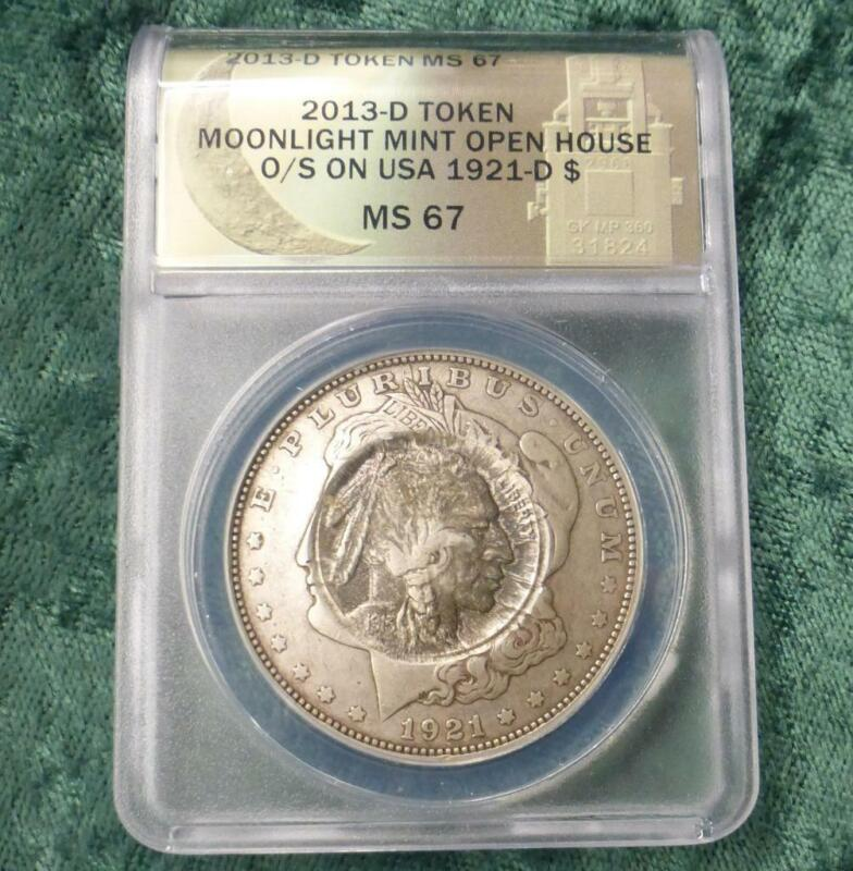 1921 D Morgan ANACS MS67 Daniel Carr Moonlight Mint O/S 1913 Buffalo Silver $1