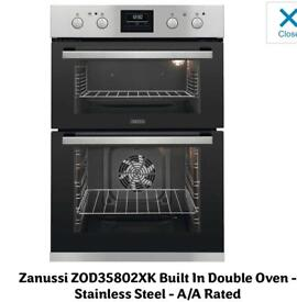 Zanussi ZOD35802XK Multifunction Built-In Double Oven With Catalytic Liners - Stainless Steel
