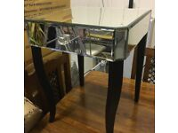 Mirored Bedside Tables with black legs and miror drawers, EX SHOWHOME PURCHSED FROM ALLANS Glasgow
