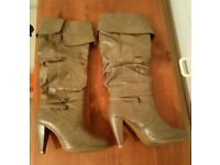Ladies XOXO taupe knee high boots, size 6, used with box