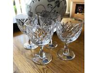 Set of 4 hand made full lead Tudor crystal glasses