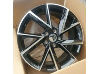 "x4 18"" Skoda Vega Style Alloy Wheels Skoda Octavia Superb Vw Golf Caddy Black"