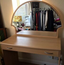 Small beech dressing table with mirror
