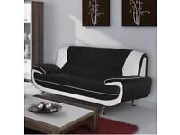 New black n white leather sofa