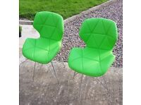 Kids lime green chairs new with small defect