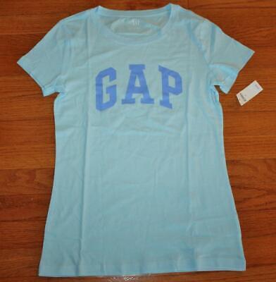 NEW NWT Womens GAP Arch Logo 100% Cotton Short Sleeve T-Shirt Blue $19 *2E